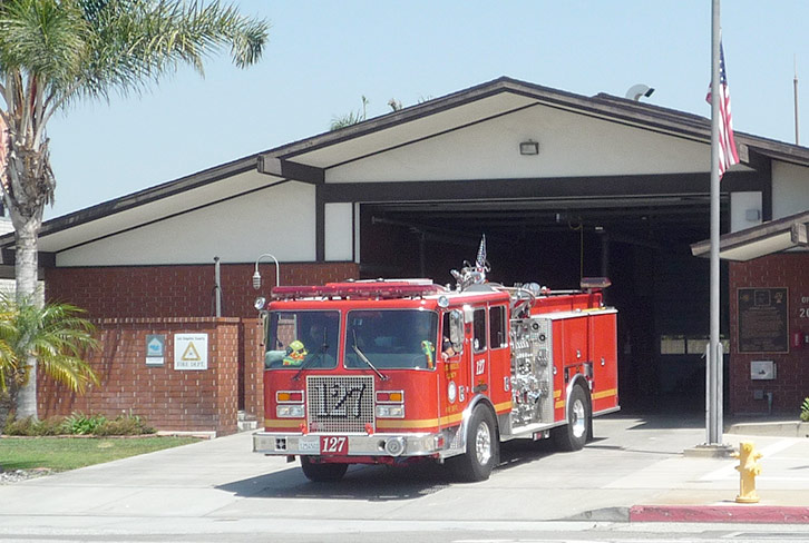fire truck on station apron