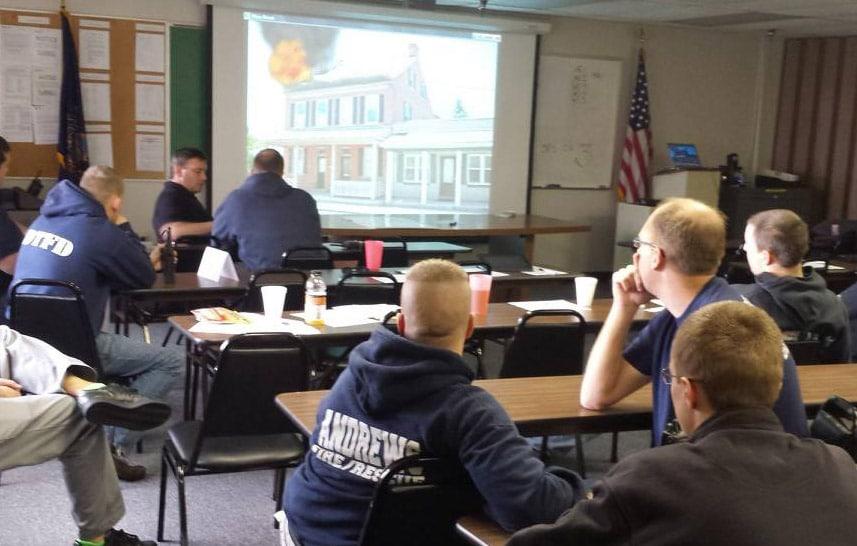 Fire Crew Viewing Fire Simulator