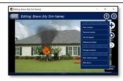 New locations menu in fire simulator
